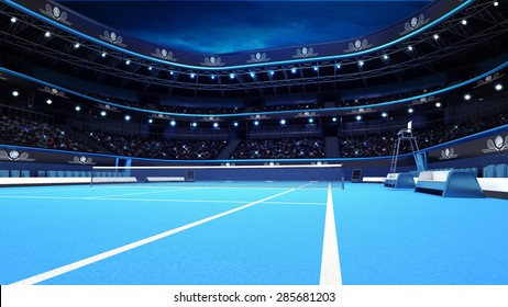 blue tennis court from the perspective of the player tennis sport theme render illustration background