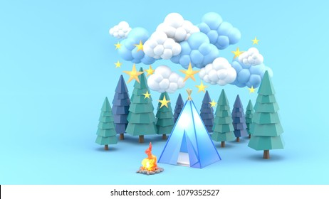 A blue tent in a pine forest surrounded by clouds and stars.-3d render.