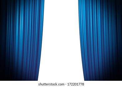 Blue Theater Curtain closing white background