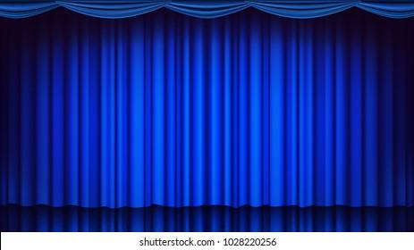 Blue Theater Curtain. Theater, Opera Or Cinema Closed Scene. Realistic Blue Drapes Illustration