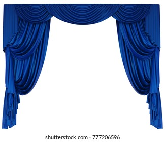 Blue Theatre Curtain Isolated. 3D rendering
