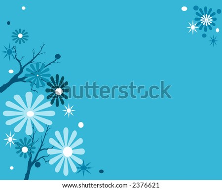Blue Themes Winter Background Floral Design Stock Illustration