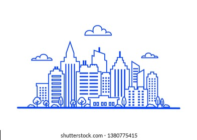 Blue Thin line City landscape. Downtown landscape with high skyscrapers. Panorama architecture. Goverment buildings Isolated outline illustration. City landscape template. Urban life illustration