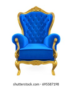 Blue Throne Chair Isolated. 3D rendering