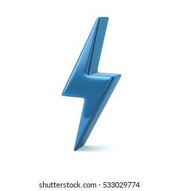 Blue thunderbolt icon 3d illustration isolated on white background