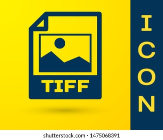 Blue TIFF file document icon. Download tiff button icon isolated on yellow background. TIFF file symbol