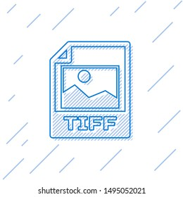 Blue TIFF file document icon. Download tiff button line icon isolated on white background. TIFF file symbol