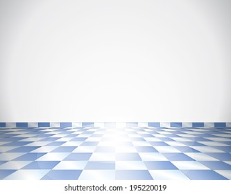 Blue tiled glossy floor with white wall - beautiful background
