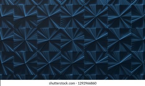 Blue Tiled Panel Background (3D Illustration)