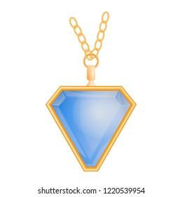 Blue topaz pendant mockup. Realistic illustration of blue topaz pendant mockup for web design isolated on white background