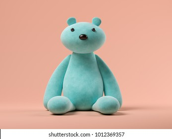 Blue toy bear on pink background 3D illustration