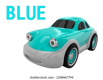 Blue toy car and an inscription with the name of the color. Isolated on white background. 3D render