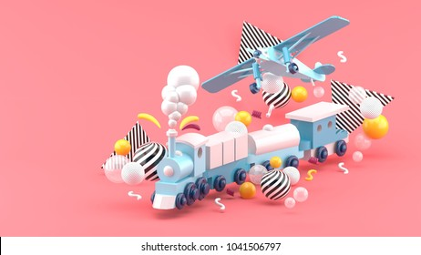 Blue toy train and plane Among the colorful balls on the pink background.-3d render.