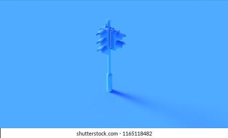 Blue Traffic Light Signals 3d illustration