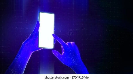 blue translucent virtual hands using a smartphone with a blank luminous screen in cyberspace. 3d render application demo template mockup new technology poster with copy space.
