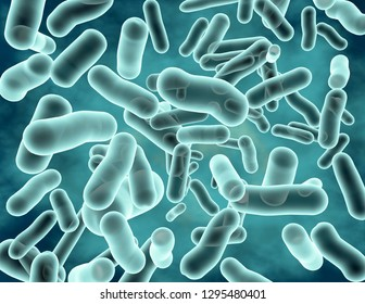 Blue transparent bacterial strain 3d rendering.