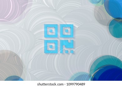 Blue Transparent Qrcode Icon on White Painted Oil Background. 3D Illustration of Blue Barcode, Code, Qr, Qrcode, Quick Response, Scan Icon Set on the White Background.