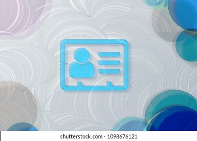 Blue Transparent Vcard Icon on White Painted Oil Background. 3D Illustration of Blue v Card, v Card, Vcard, Vcard File, Vcard File Icon Set on the White Background.
