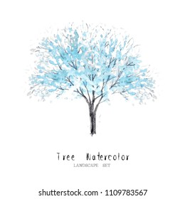 blue tree watercolor set nature garden painting landscape architecture element isolated on white background ; art hand drawn green trees illustration brush sketch design watercolour .