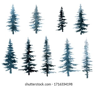 blue and blue trees spruce forest, watercolor drawing hand illustration