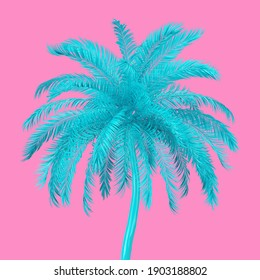 Blue Tropical Palm Tree in Duotone Style on a pink background. 3d Rendering