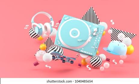 Blue turntable , cap ,skateboard and blue headphones are among colorful balls on a purple background.-3d render