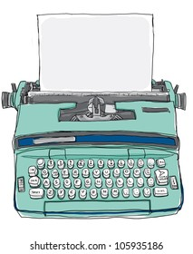 blue Typewriter vintage hand drawn line art illustration