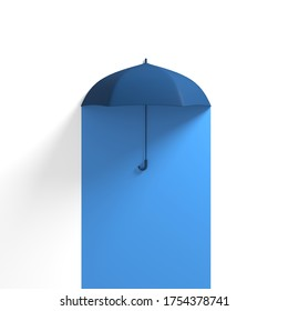 Blue Umbrella Floating on Blue half White color background. 3D Concept Creative Idea.