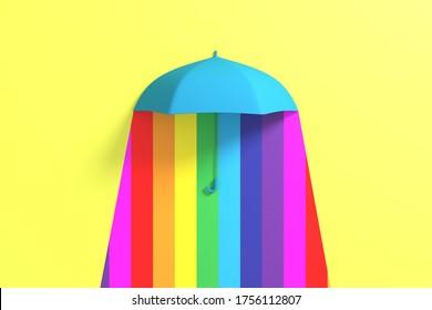 Blue Umbrella Floating with rain Colorful color background. 3D Concept Creative Idea.