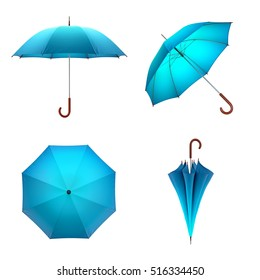 Blue umbrella isolated on white background. 3D illustration