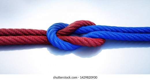Blue und red reef knot or square knot - 3D illustration