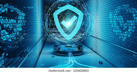 Blue underground cyber security hologram with digital shield 3D rendering