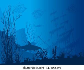 Blue underwater landscape with sunken ship, sharks and see weeds. Raster hand drawn illustration.