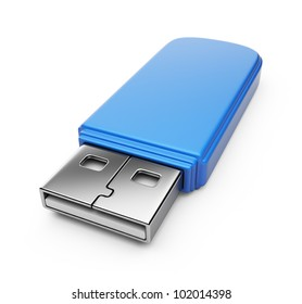 Blue USB flash drive 3d. Isolated on white background