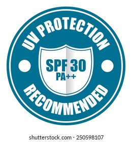 blue UV protection SPF 30 PA++ Recommended icon, tag, label, sign, sticker isolated on white