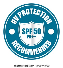 Blue UV protection SPF 50 PA++ Recommended icon, tag, label, sign, sticker isolated on white