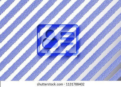 Blue Vcard Icon on the Gray Stripes Fur Background. 3D Illustration of Blue v Card, v Card, Vcard, Vcard File, Vcard File Icon Set With Striped Gray Pattern.