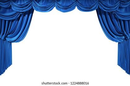 Blue velvet curtains isolated on white background. 3d illustration