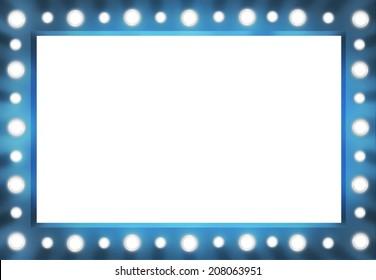 Blue version Vanity Mirror Frame with Lightbulbs template