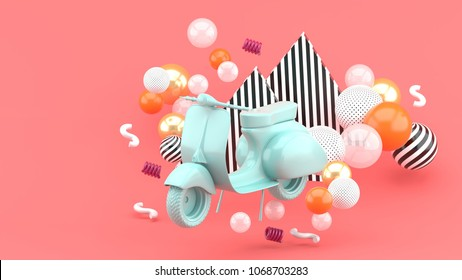 Blue vintage motorcyclist amidst colorful balls on a pink background. - 3d render.