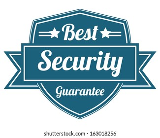 Blue Vintage Style Best Security Guarantee Badge or Label Set Isolated on White Background