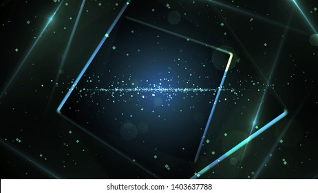 Blue virtual abstract background space tunnel with neon line lights. Reality square portal arch tunnel. Spectrum vibrant colors laser show.