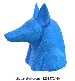 Blue  voxel Anubis head on a white background. 3D illustration.
