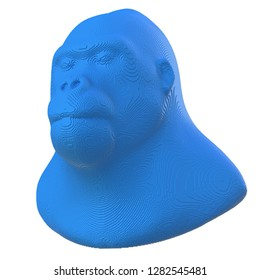 Blue voxel gorilla head on a white background. 3D illustration.