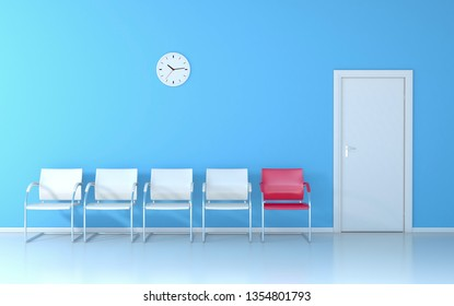 Blue waiting room with four white seats and one red seat, wall clock and white door - 3D render
