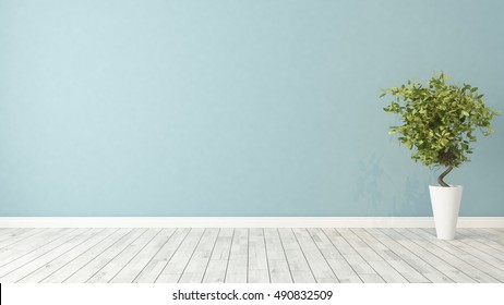 blue wall empty room with green plant in vase 3d rendering by Sedat SEVEN