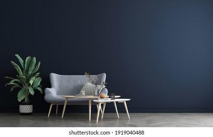 Blue wall living room interior with carpet, plants and decor. 3d render illustration mock up