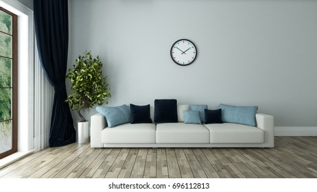blue wall living room interior design with seat and watch 3d rendering by Sedat SEVEN
