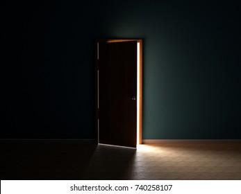Blue Wall Opened Door Dark Room Light Comes ?nside - 3D Rendering