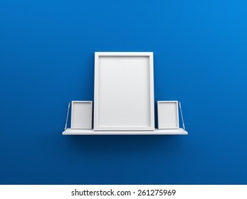Blue wall with shelf and blank poster photo frame 3d render